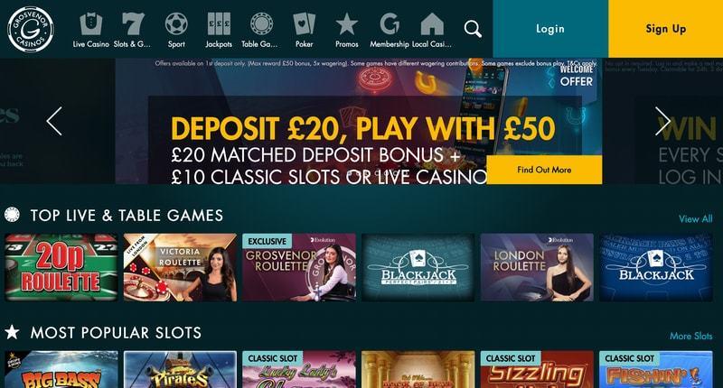 Screenshot from Grosvenor Casino